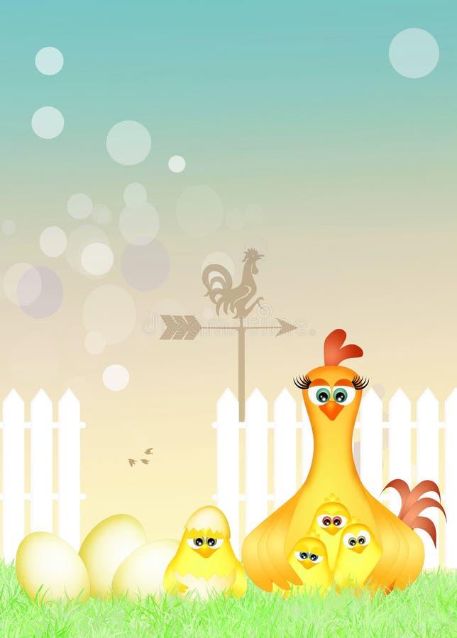 Gallina y polluelos en la jerarquía libre illustration