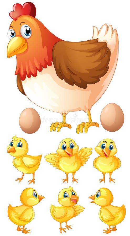 Gallina y seis polluelos ilustración del vector