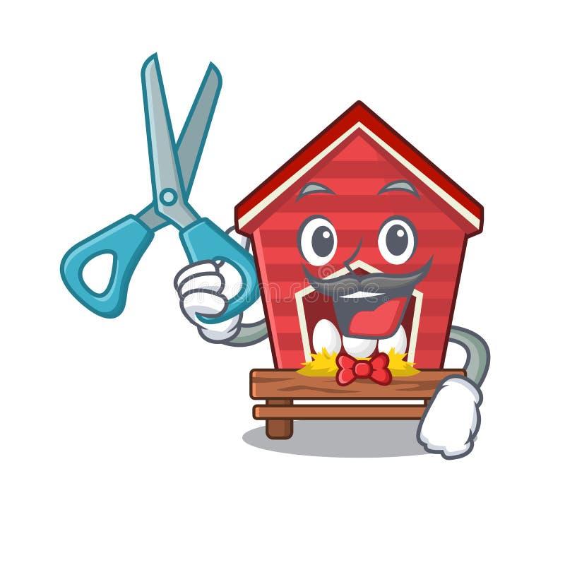 Gallinero de pollo del peluquero aislado en la mascota stock de ilustración