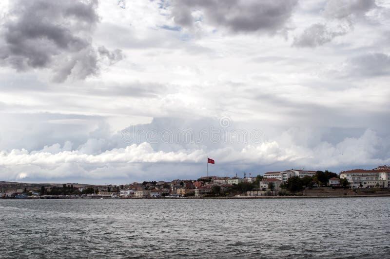 Gallipoli (Gelibolu) / Canakkale. Gallipoli (Gelibolu) coast and Turkish flag in Canakkale/Turkey stock photo