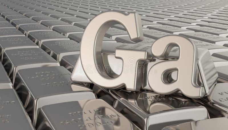 Galliumbarrenhintergrund mit GA-Symbol Wiedergabe 3d lizenzfreie abbildung