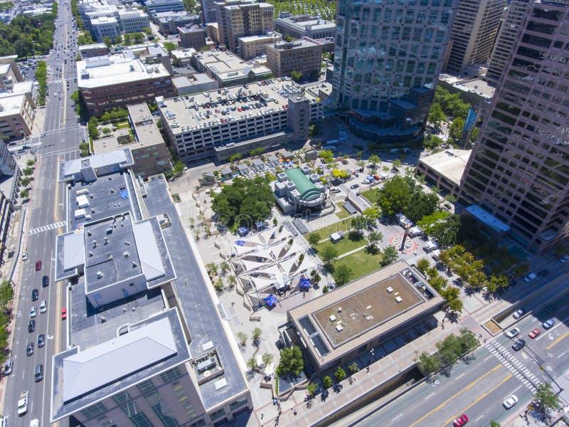 Gallivan центризует вид с воздуха, Солт-Лейк-Сити, Юту, США стоковое изображение rf