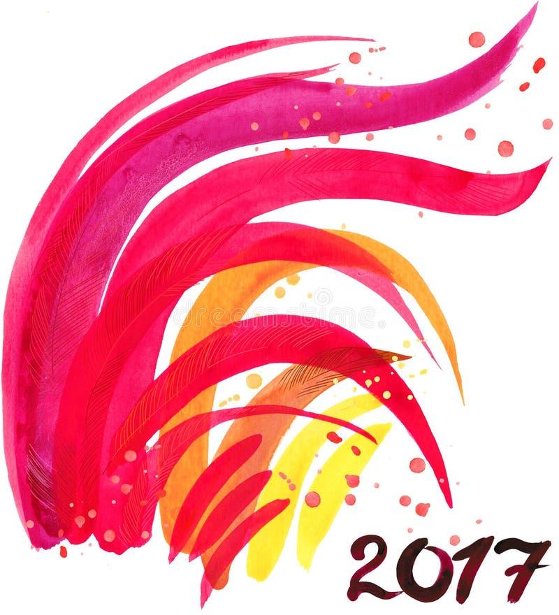 Gallo Anno del gallo Nuovo anno cinese del gallo Carta del nuovo anno del gallo dell'acquerello illustrazione di stock