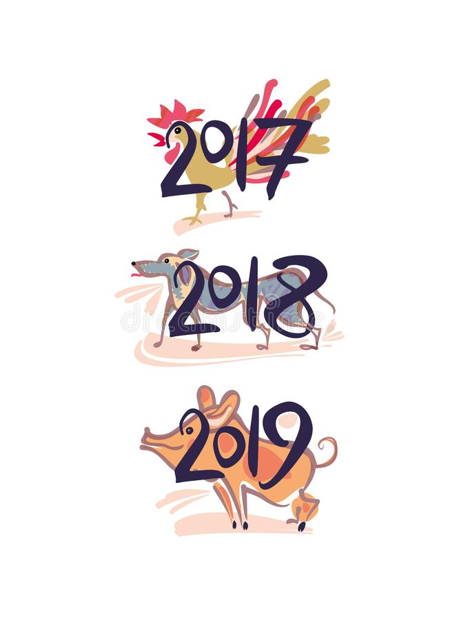 gallo 2017 Cane 2018 Maiale 2019 royalty illustrazione gratis