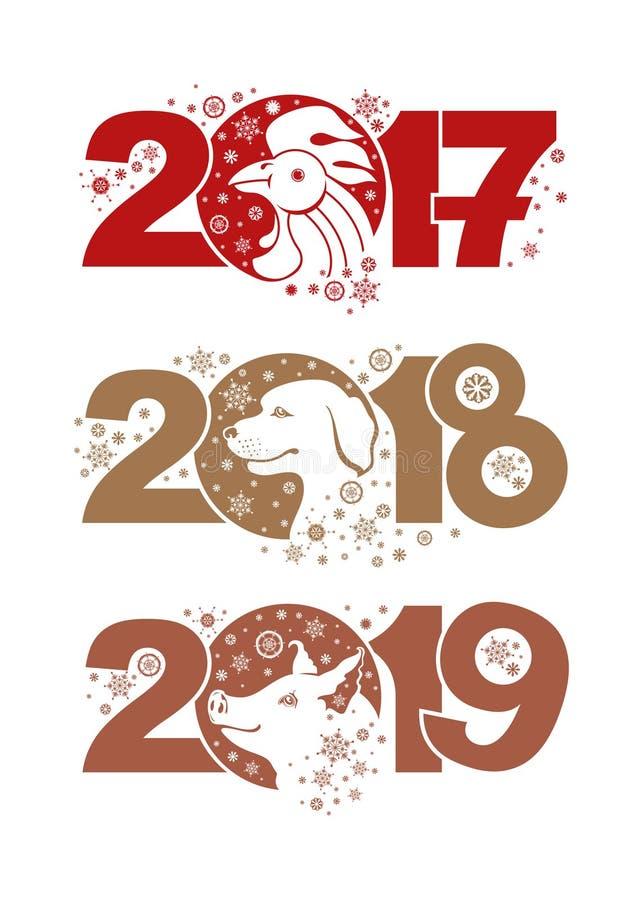 gallo 2017 Cane 2018 Maiale 2019 illustrazione vettoriale