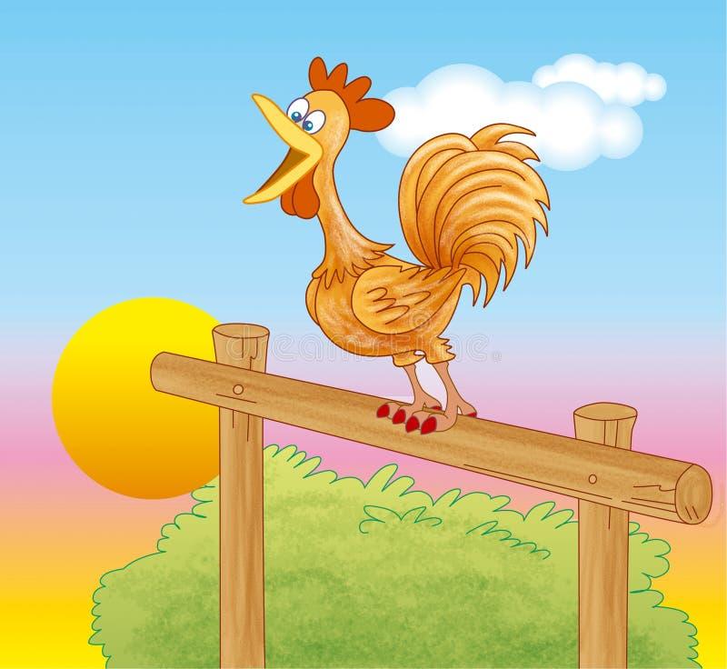 Gallo che canta all'alba royalty illustrazione gratis
