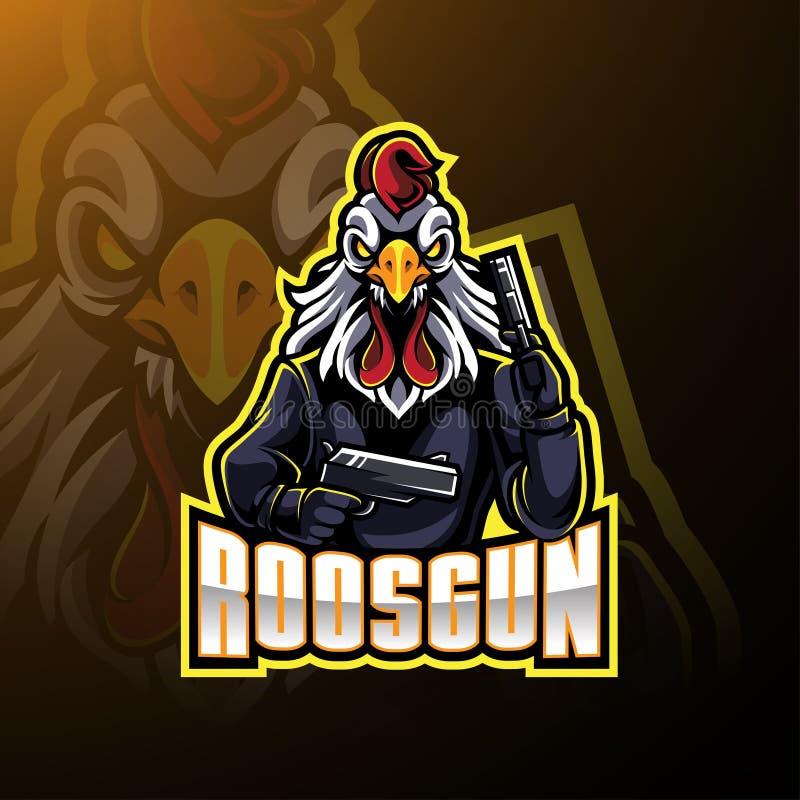Gallo con diseño del logotipo de la mascota del arma stock de ilustración