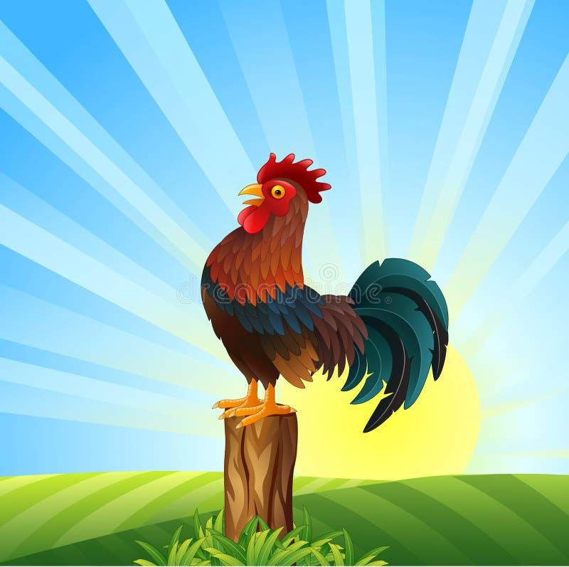 Gallo de la historieta que canta en el amanecer stock de ilustración