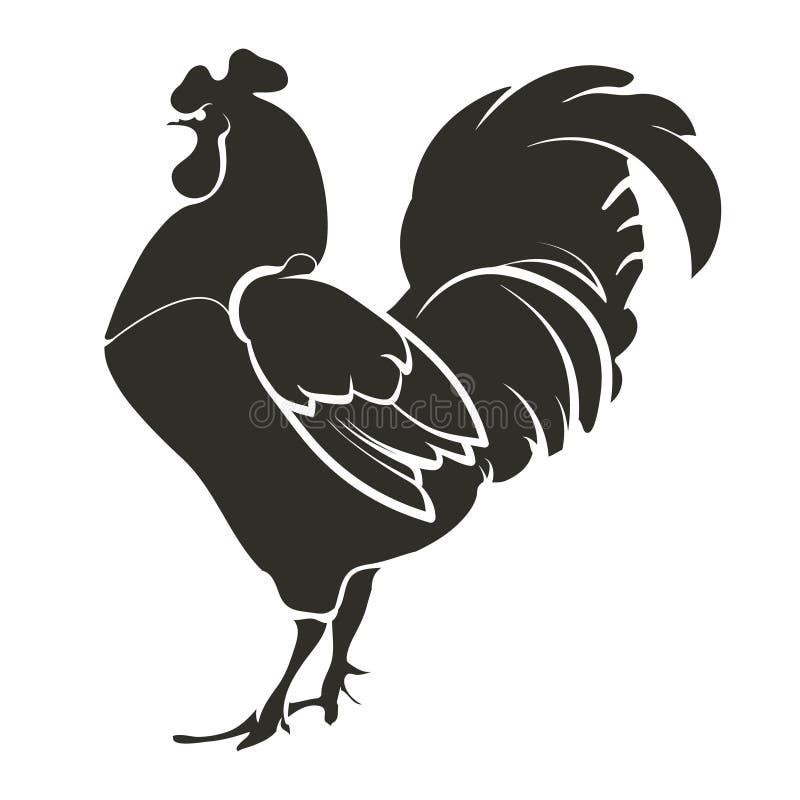 Gallo de la plantilla, negro imagenes de archivo