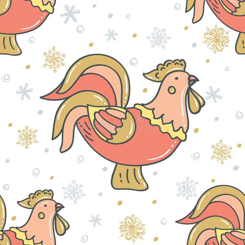 Gallo decorativo con i fiocchi di neve Illustrazione di vettore su priorità bassa bianca royalty illustrazione gratis