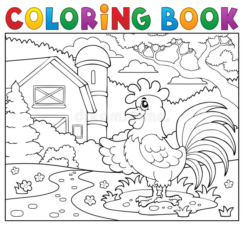 Gallo del libro da colorare vicino all'azienda agricola illustrazione di stock