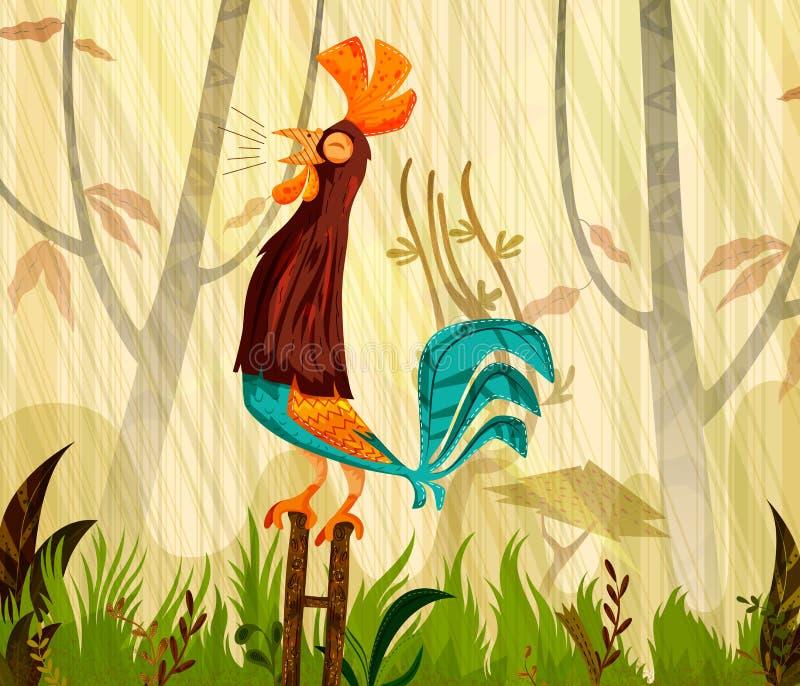 Gallo del pájaro del animal doméstico en fondo del bosque de la selva ilustración del vector