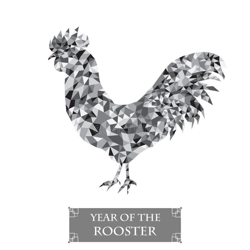 Gallo del polígono Año Nuevo del símbolo 2017 Icono gris del pájaro ilustración del vector