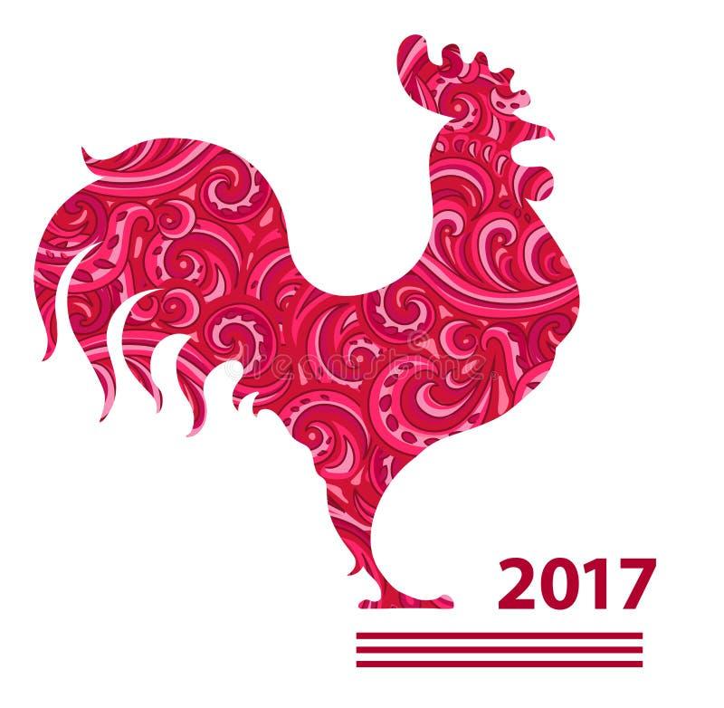 Gallo dell'illustrazione di vettore, calendario cinese Siluetta del gallo rosso, decorata con i modelli floreali illustrazione di stock