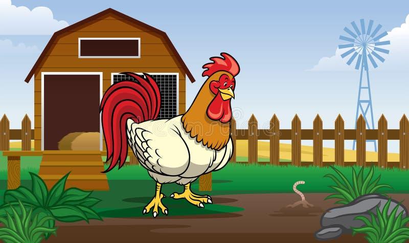 Gallo in di cortile con stile del fumetto che guarda il verme illustrazione di stock