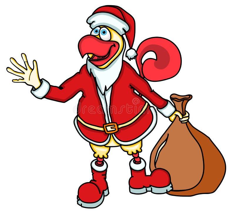 Gallo divertente del fumetto, il simbolo del nuovo anno 2017 sul calendario cinese sotto forma di Santa Claus con una borsa dei r illustrazione di stock
