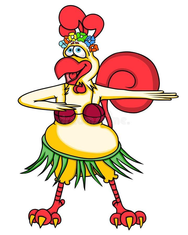 Gallo divertido de la historieta que baila danza hawaiana ilustración del vector