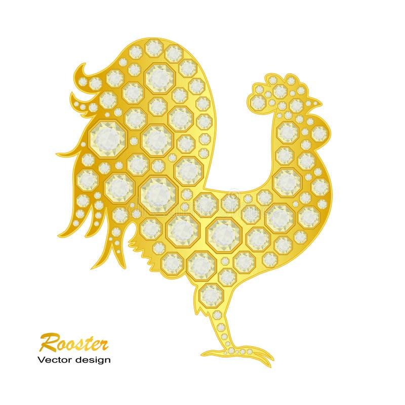 Gallo dorato con i diamanti su fondo bianco Illustrazione di vettore 2017 nuovi anni felice illustrazione di stock