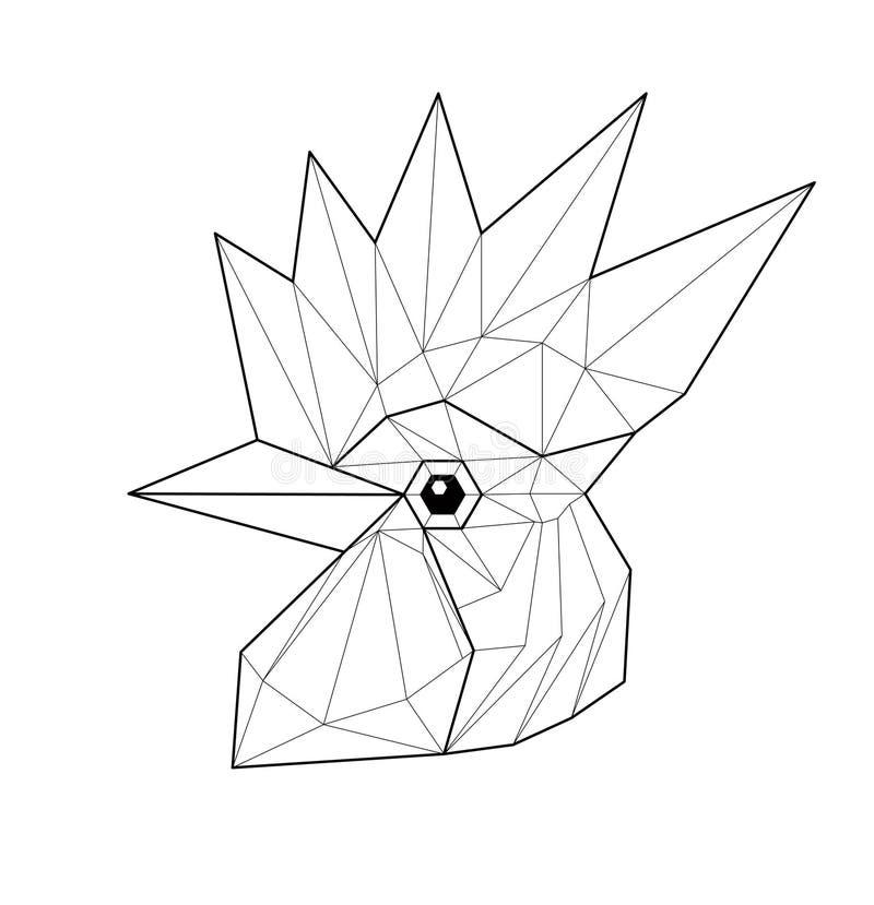 Gallo - ejemplo bajo del polígono ilustración del vector