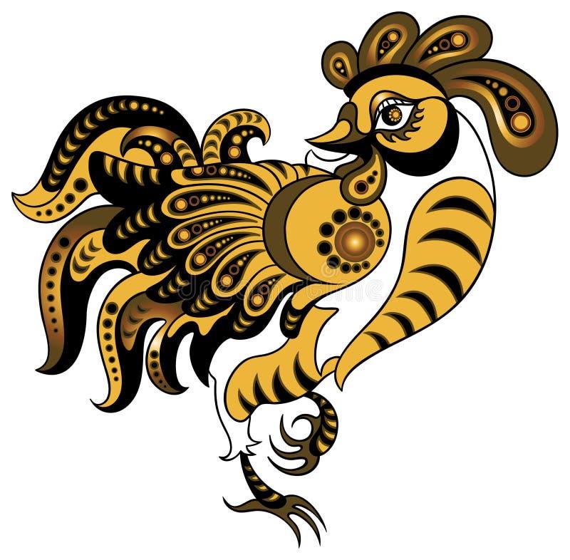 Gallo en estilo del oro libre illustration
