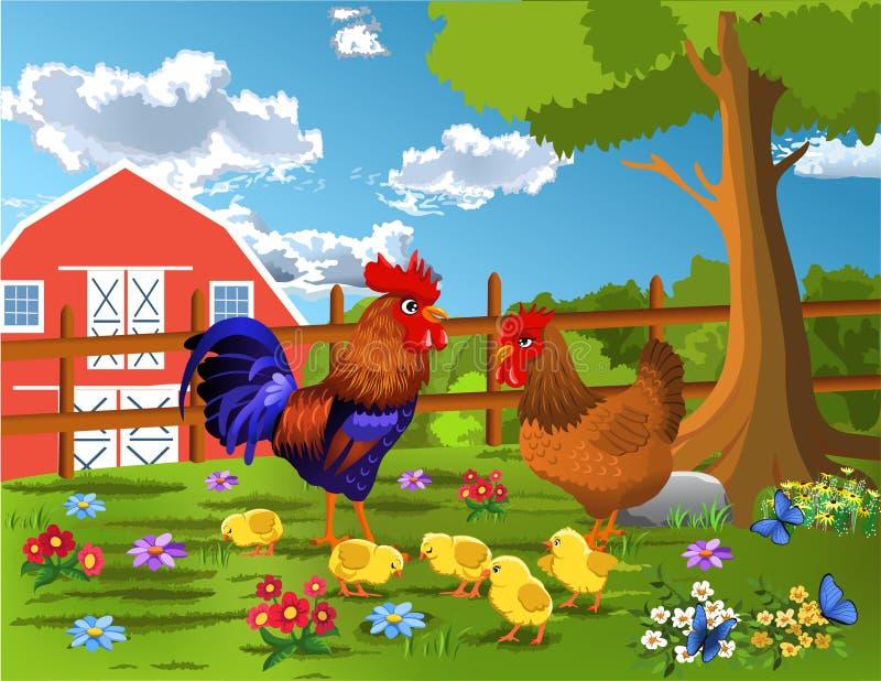Gallo, gallina e pollo all'azienda agricola illustrazione di stock