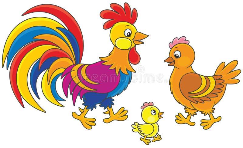 Gallo, gallina e pulcino illustrazione di stock