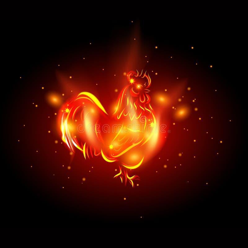 gallo 2017 Gallo del fuoco rosso - simbolo del nuovo anno 2017 in calendario cinese royalty illustrazione gratis