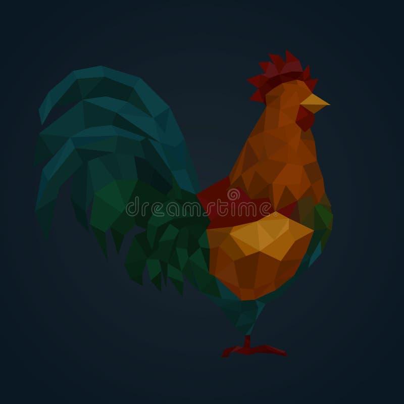 Gallo hermoso del polígono Ejemplo con el gallo rojo Tarjeta de la Feliz Año Nuevo Símbolo del polígono del Año Nuevo de China libre illustration