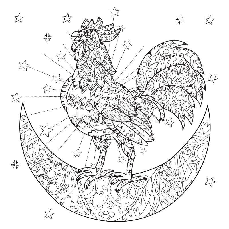 Gallo lindo, gallo en la media luna de la Navidad libre illustration