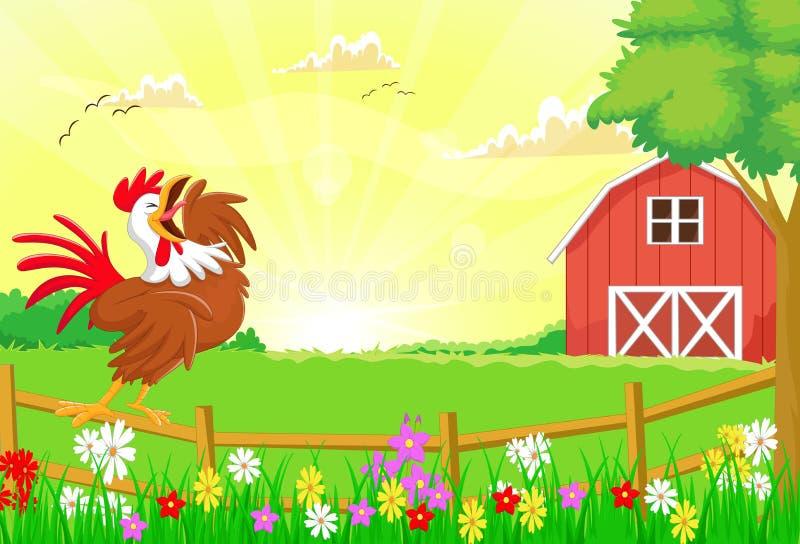 Gallo lindo que canta en la cerca de la granja ilustración del vector