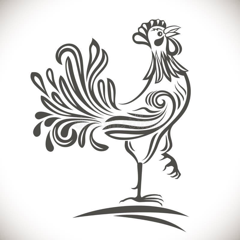 Gallo ornamentale in bianco e nero illustrazione vettoriale