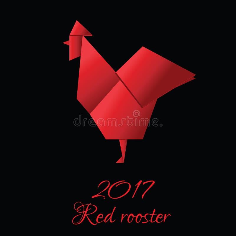 Gallo rojo en el estilo de la papiroflexia, símbolo del Año Nuevo 2017 del gallo rojo en negro stock de ilustración