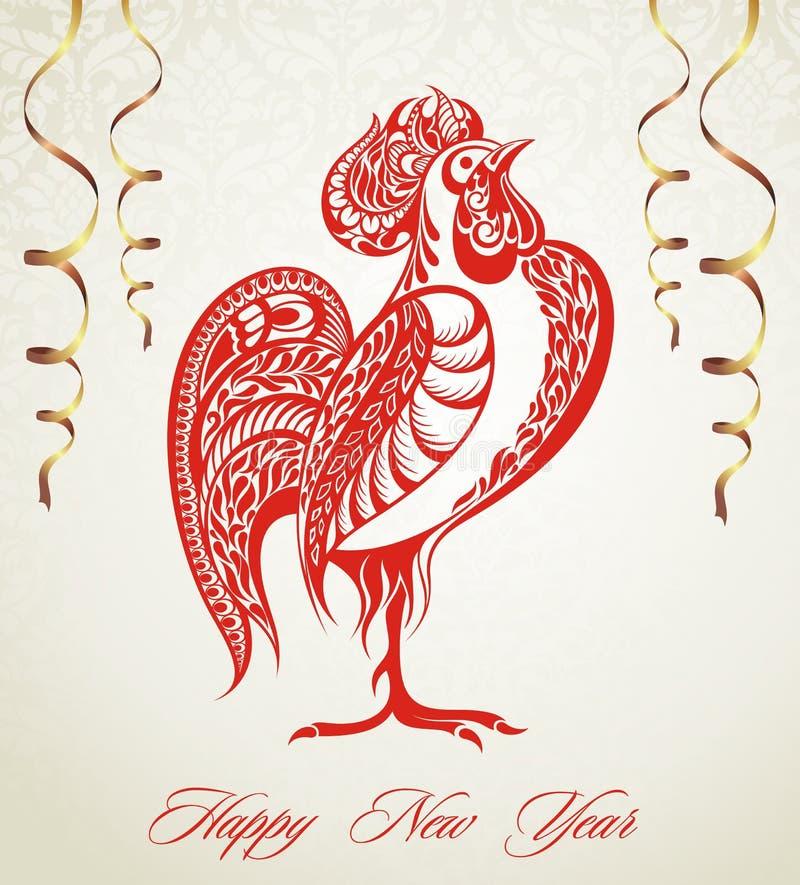 Gallo rojo estilizado, símbolo de 2017 ilustración del vector