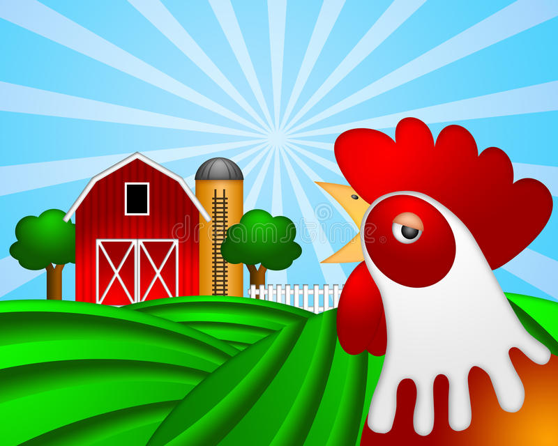 Gallo sul pascolo verde con il silo di granulo rosso del granaio illustrazione vettoriale