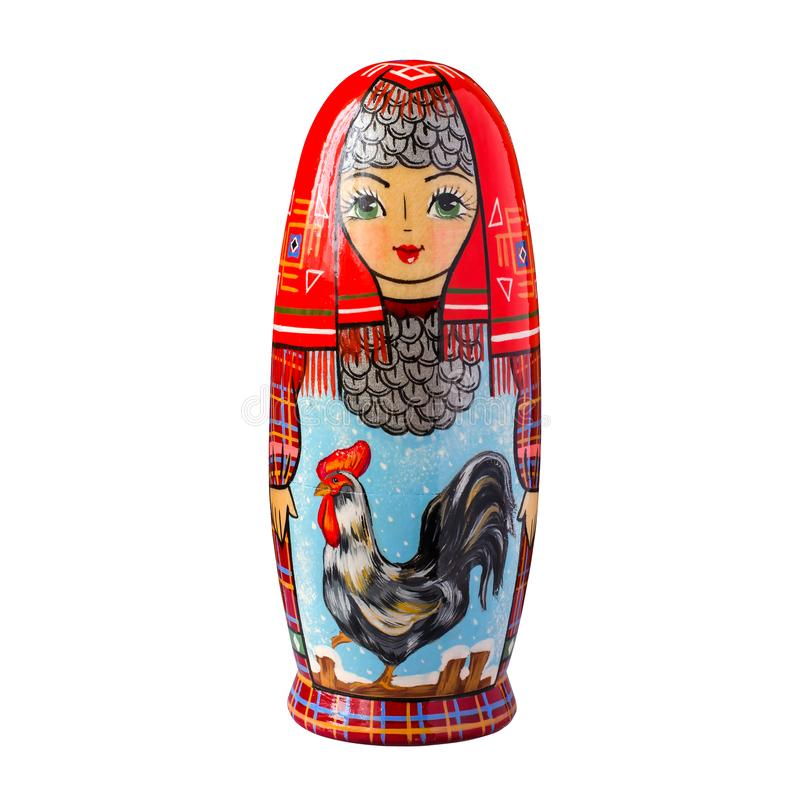 Gallo - un simbolo del nuovo anno L'immagine sul matr della bambola fotografia stock