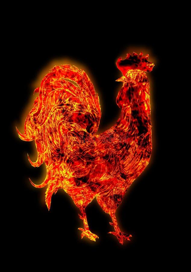 Gallo variopinto del fuoco Simbolo del nuovo anno cinese Uccello del fuoco, gallo rosso Carta del buon anno 2017 illustrazione di stock