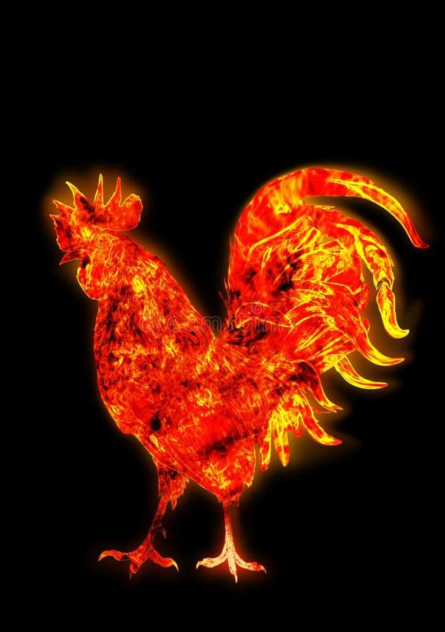 Gallo variopinto del fuoco Simbolo del nuovo anno cinese Uccello del fuoco, gallo rosso Carta del buon anno 2017 royalty illustrazione gratis