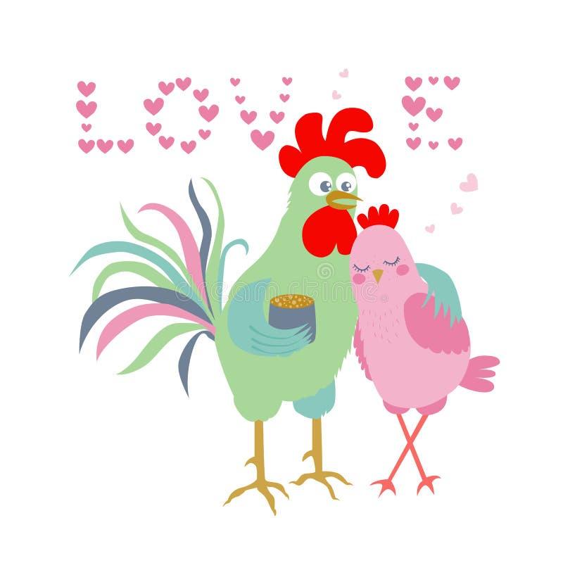 Gallo y gallina lindos - símbolo de la historieta de 2017 El amor de la palabra que consiste en corazones libre illustration