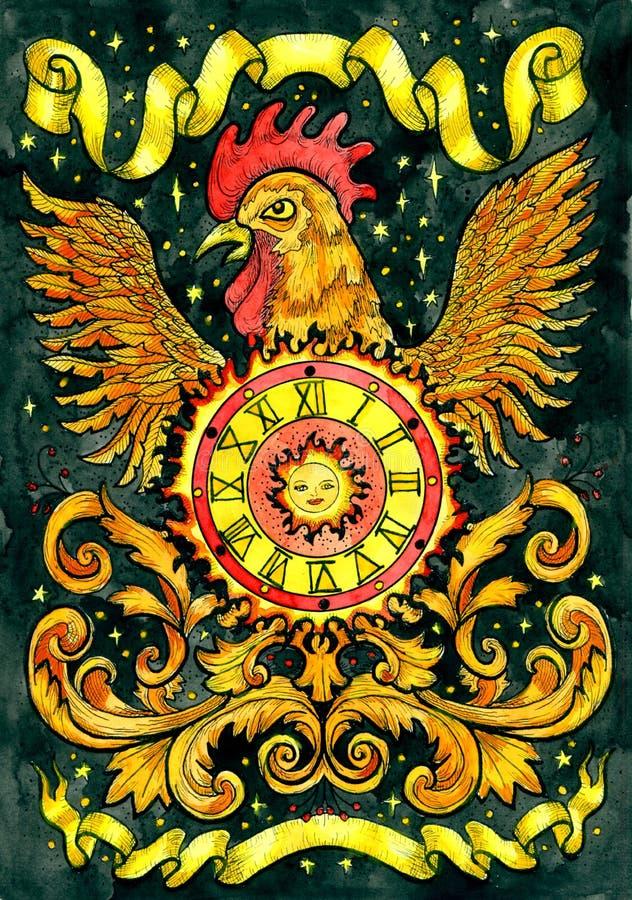 Gallo y sol Ejemplo gráfico de la fantasía exhausta de la mano libre illustration