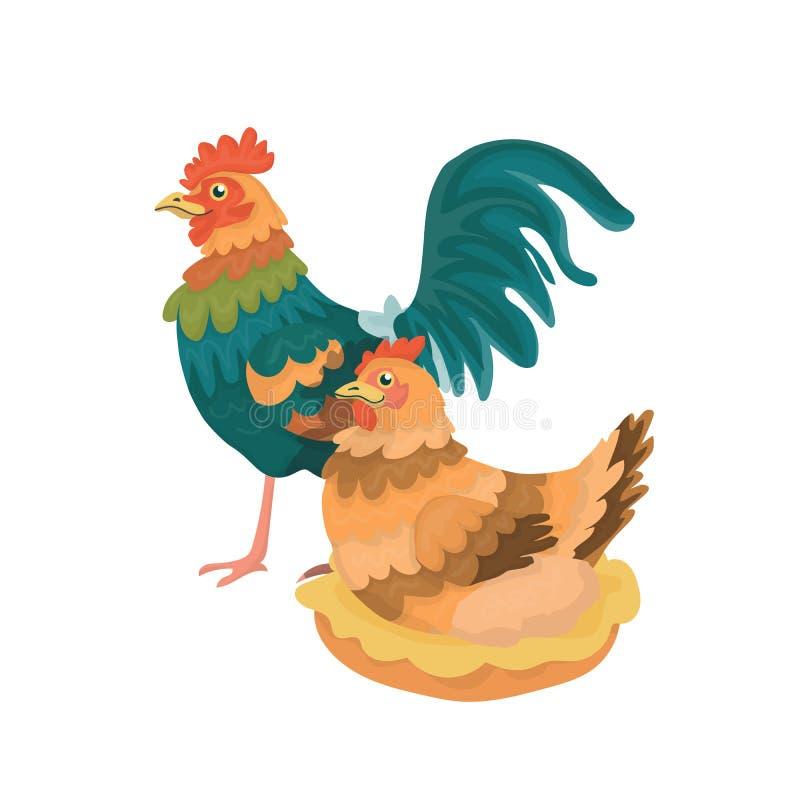 Gallo y una gallina ilustración del vector