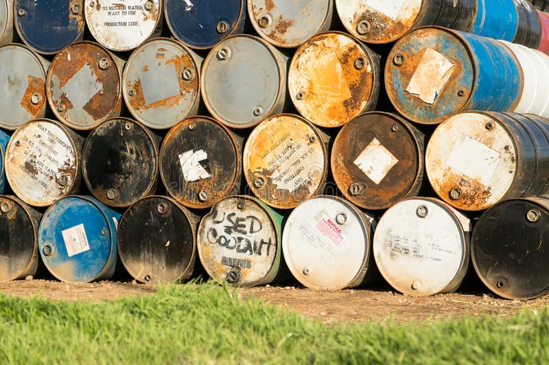55 Gallon Drums Stacked on Each Other in a Storage Facility royalty free stock photos