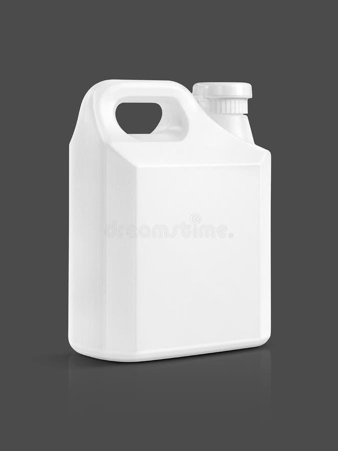 Gallon en plastique blanc d'emballage vide d'isolement sur le gris image libre de droits