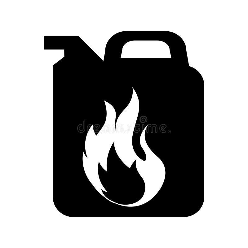 Gallon met vlam geïsoleerd pictogram royalty-vrije illustratie