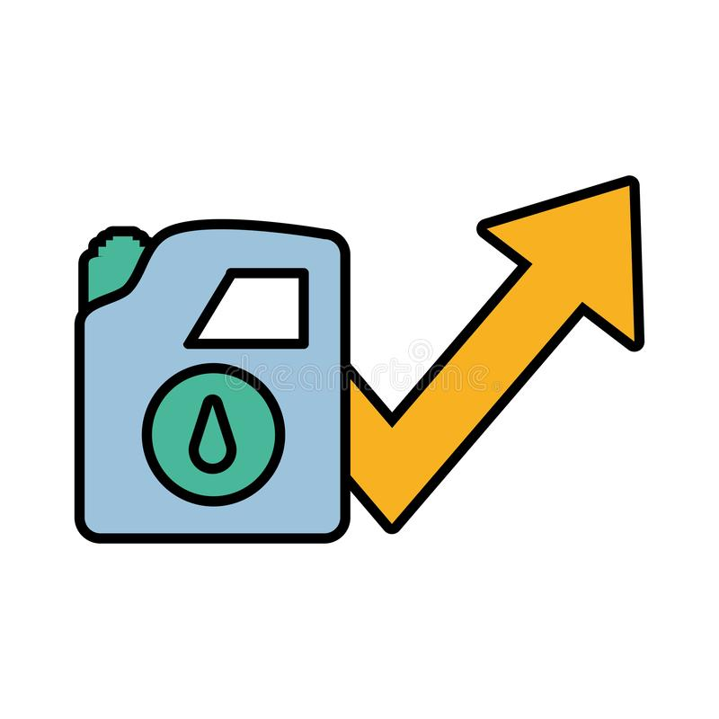 Gallone Benzin mit Pfeilen vektor abbildung