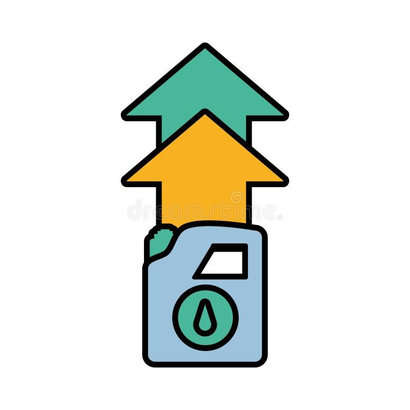 Gallone Benzin mit Pfeilen stock abbildung