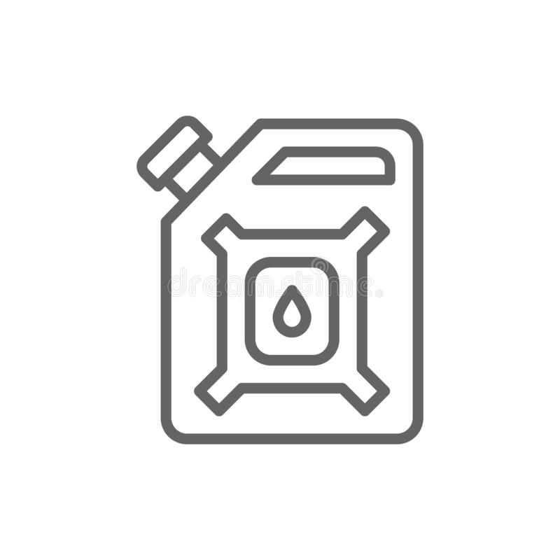 Gallone dell'olio, scatola metallica della benzina, linea icona di bidone per la benzina della benzina illustrazione vettoriale