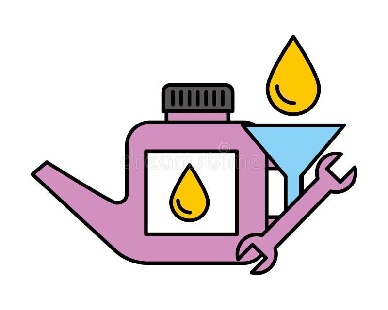 Gallone della chiave dell'olio e versare servizio con un imbuto automobilistico illustrazione di stock