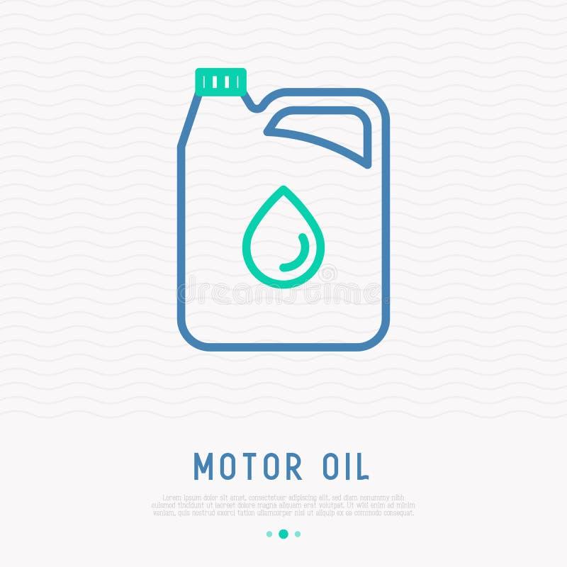 Gallone della linea sottile icona dell'olio di motore illustrazione di stock