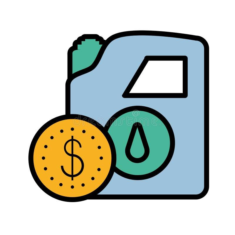 Gallone di benzina con i soldi della moneta illustrazione vettoriale