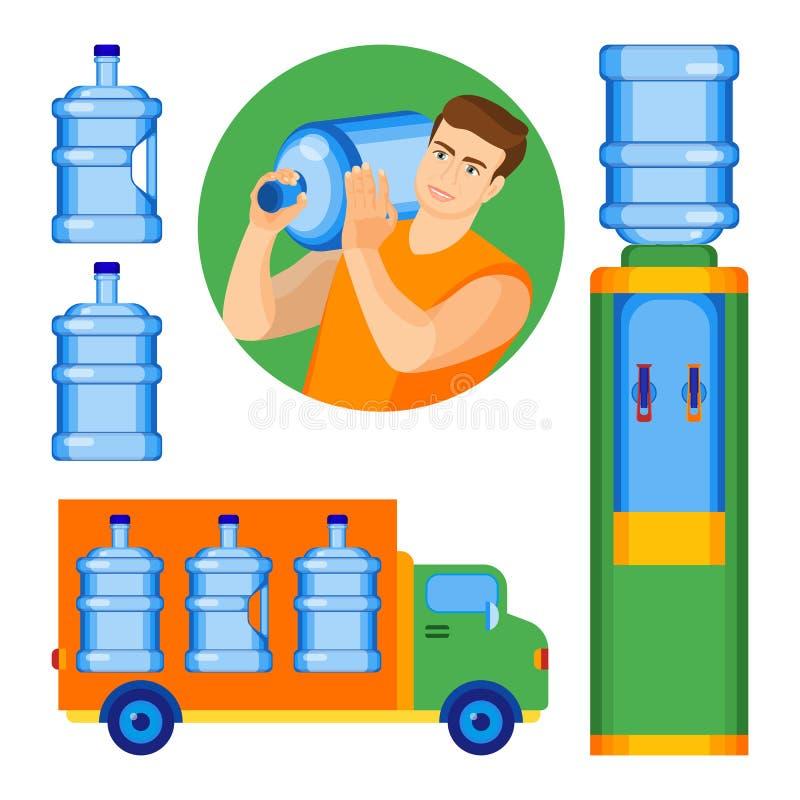 2-Gallonenwasserflaschen mit und ohne Griff vektor abbildung